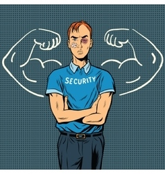 thin beaten the security guard dreams of power vector image