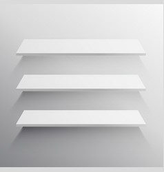 Three shelves with long shadow mockup vector