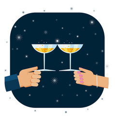 toasting with glasses of champagne vector image