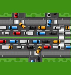 Traffic jam city freeway cars congestion vector