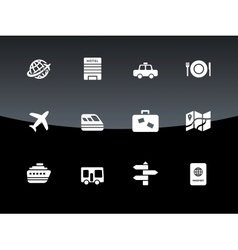 Travel icons on black background vector