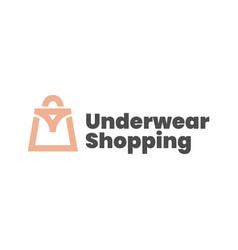 Underwear shop shopping bag logo icon vector