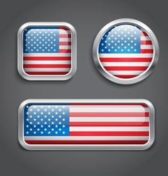 USA flag glass buttons vector