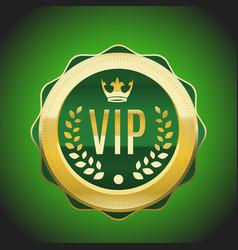 Vip green golden label premium medal vector