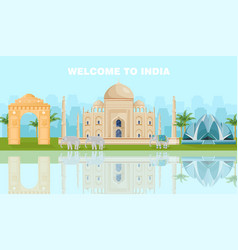 welcome to india card with famous landmarks vector image