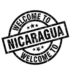 welcome to nicaragua black stamp vector image