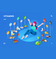 Woman and products for healthy nutrition vector