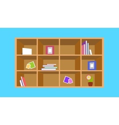 Wooden bookshelf with things vector