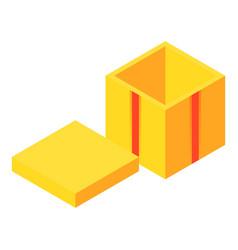 yellow open gift box icon isometric style vector image