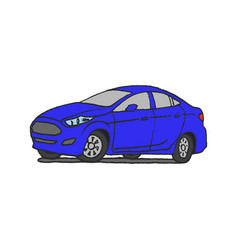 blue car doodle vector image vector image