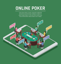 online poker isometric composition poster vector image vector image