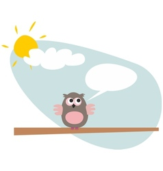 Sweet and funny talking cartoon owl on the tree vector image
