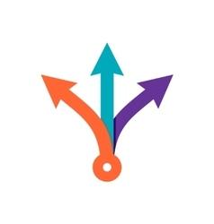 Three way direction color arrows vector image