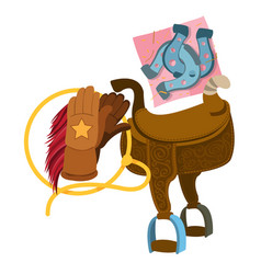 Wild west saddle gloves rope and a horseshoe vector