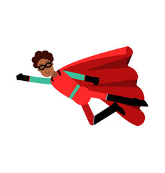 young black man in classic red superhero costume vector image