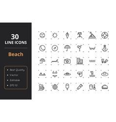 30 beach line icons vector image