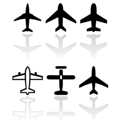 airplane symbol set vector image