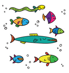 exotic sea and river multi colored fish different vector image vector image