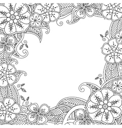 Floral hand drawn square frame in zentangle vector image vector image