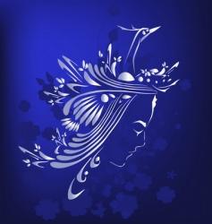 girl and bird design vector image vector image