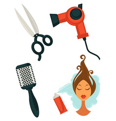 set of hairdressing items vector image