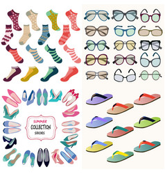 Summer accessories collection sunglasses socks vector