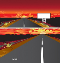 sunset on the road vector image