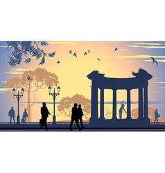 Avenue walking people vector image vector image