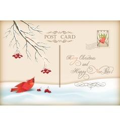 Christmas vintage holiday postcard vector