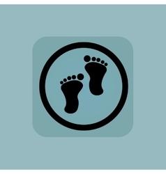 Pale blue footprint sign vector