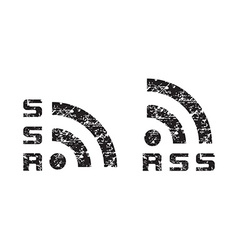 scratched shabby news rss icon black vector image vector image