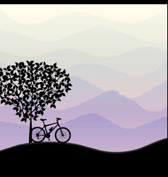 travel background with bike silhouette vector image