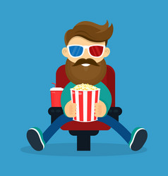 young happy smiling beard hipster man vector image
