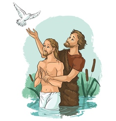 baptism of jesus christ vector image vector image