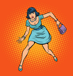 Beautiful woman with a bag running vector