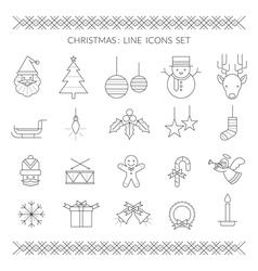 Christmas Line Icons Set vector image vector image