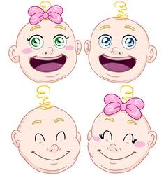 Cute Baby Boy And Girl Head Set vector image vector image