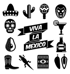 mexican silhouettes vector image vector image
