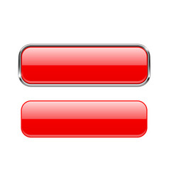 red glass buttons with and without metal frame vector image vector image
