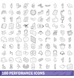 100 performance icons set outline style vector
