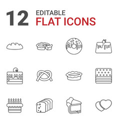 12 bakery icons vector