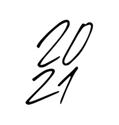 2021 year brush text isolated on a white vector image