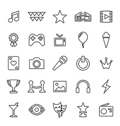 25 outline universal entertainment icons vector image
