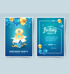 8th years birthday invitation double card vector