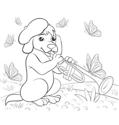 a children coloring bookpage a cute playing dog vector image