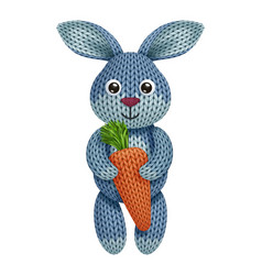 A funny knitted rabbit toy with carrot on white vector