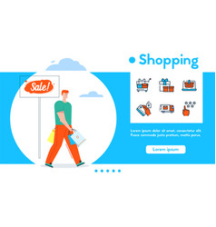 banner shopping and linear icons set vector image