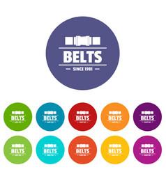 Belt icons set color vector