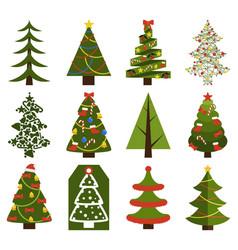 big set christmas tree symbols with without decor vector image