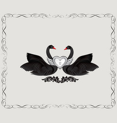 black birds in love with floral decoration couple vector image